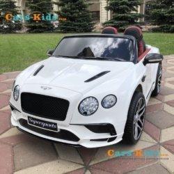Электромобиль BENTLEY CONTINENTAL SUPERSPORTS JE1155 белый (колеса резина, кресло кожа, пульт, музыка)