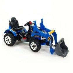 Детский электромобиль трактор на аккумуляторе синий- JS328A-Y (колеса накладки резина, ковш верхний)